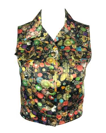 Moschino Rare 'Buttons' Print 1990s Cropped Vest … - image 1