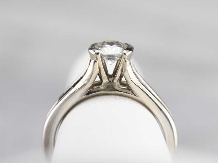 White Gold Diamond Solitaire Ring - image 7