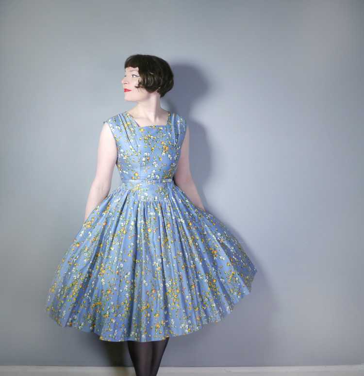 50s BLUE FULL SKIRTED DRESS BY RODNEY IN RED AND … - image 2