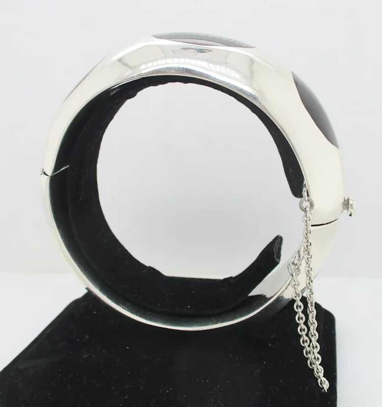 Sterling Silver and Onyx Mid-Century Modern Brace… - image 4