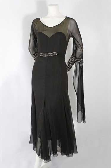 Beaded silk chiffon dance dress, 1930s-40s