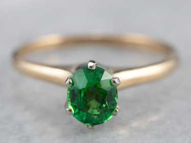 Tsavorite Garnet Gold Solitaire Ring - image 1