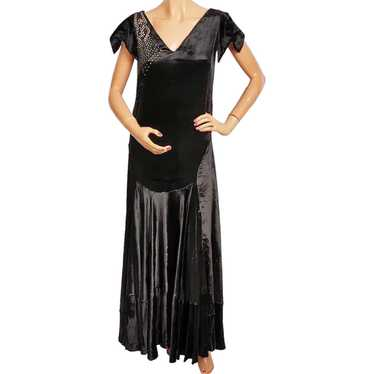 Vintage 1920s Black Panne Velvet Evening Gown 20s