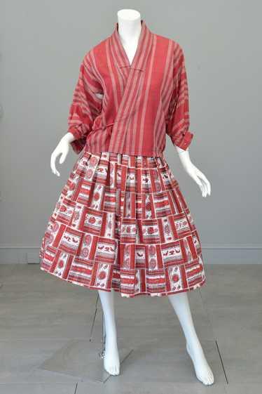 1930s 40s Wrap Front Balloon Sleeve Kimono Jacket
