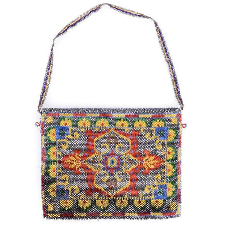 Vintage 20s Beaded Carpet Bag - image 2