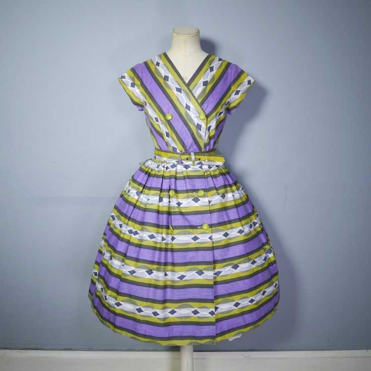50s MID CENTURY PRINT PURPLE AND LIME STRIPED DOU… - image 5