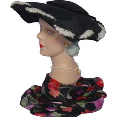 Vintage 1950s Black Platter Style Hat With Black a