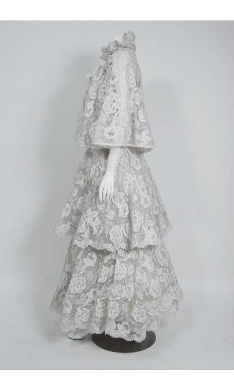 1968 Arnold Scaasi Couture White Embroidered Lace… - image 6