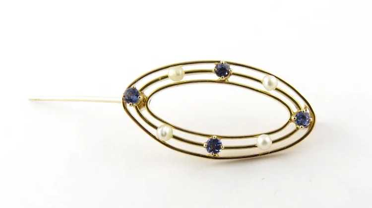 Vintage 10 Karat Yellow Gold Synthetic Sapphire a… - image 4