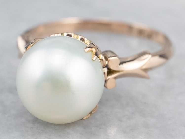 Pearl Rose Gold Solitaire Ring - image 3