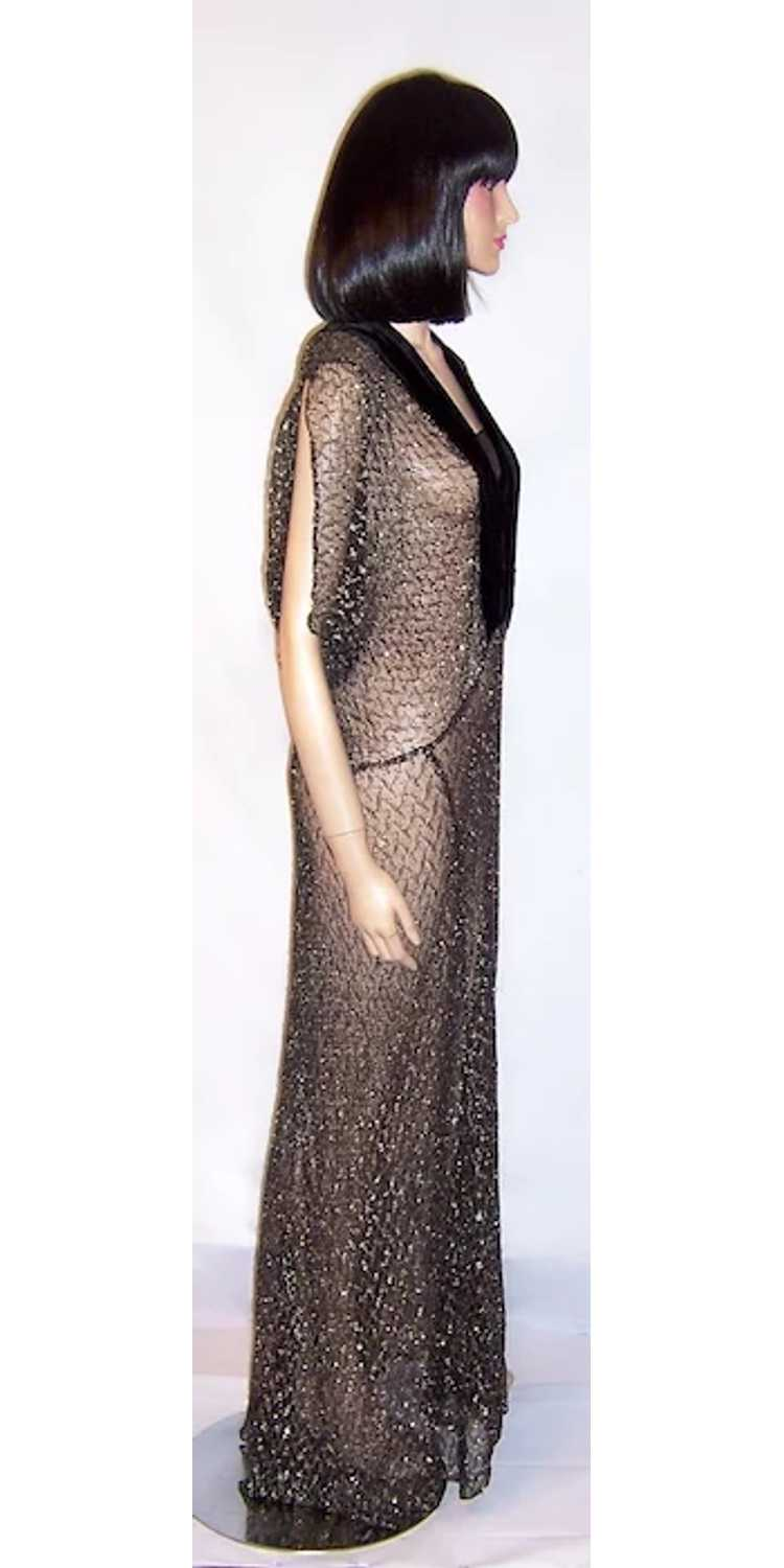 1930's Black & Silver Metallic Lace Gown with Vel… - image 2