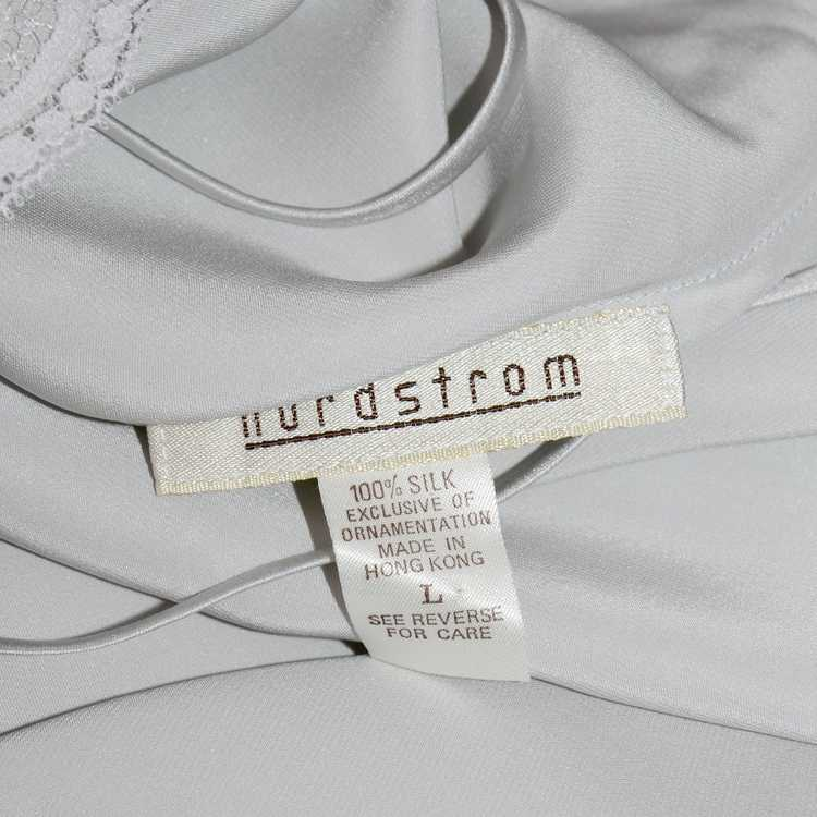 1970s Nordstrom Silver Grey Silk Chemise w/ Lace … - image 8