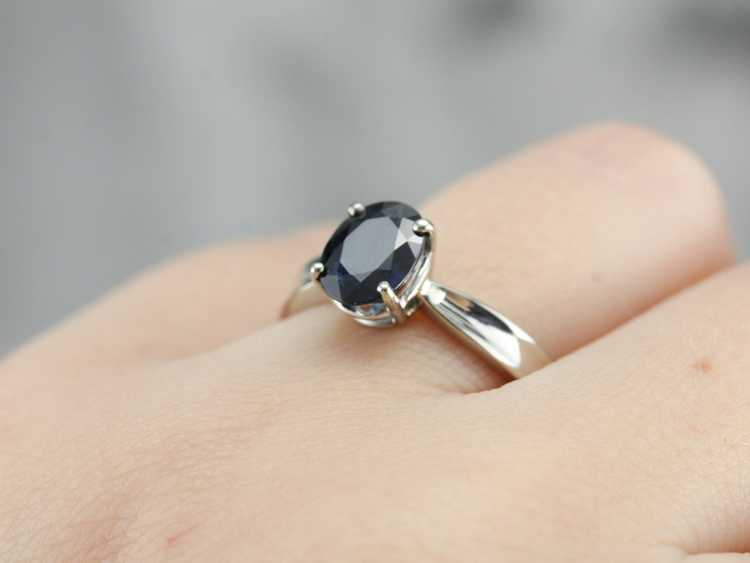 White Gold Sapphire Solitaire Ring - image 5