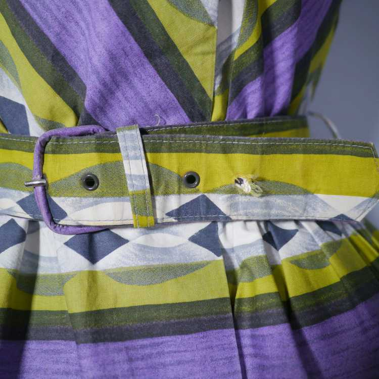 50s MID CENTURY PRINT PURPLE AND LIME STRIPED DOU… - image 11