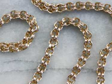 Double Link Gold Chain Necklace