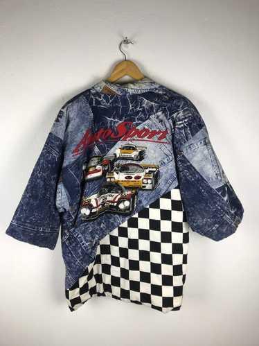 Vintage racing checkered print  checkerboard print windbreaker jacket size mens xl