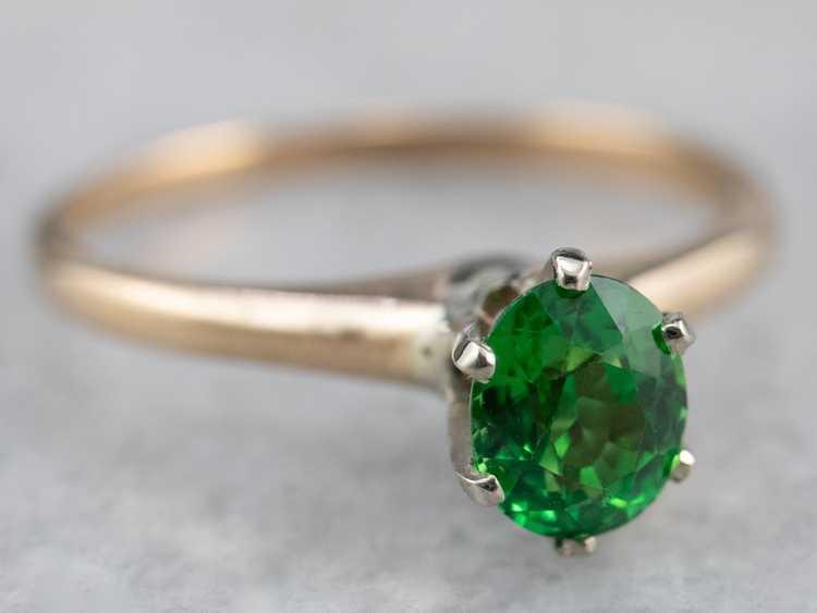 Tsavorite Garnet Gold Solitaire Ring - image 2