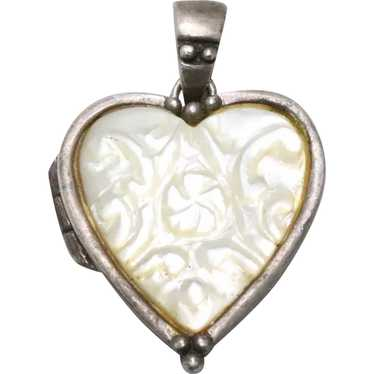 Vintage Sterling Silver Mother of Pearl Heart Loc… - image 1