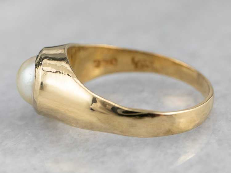 Bezel Set Pearl Gold Solitaire Ring - image 4