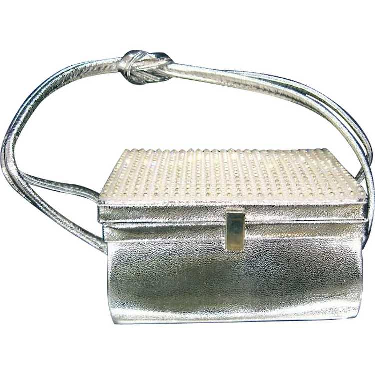 Arnold Scaasi Silver Studded Evening Bag - image 1