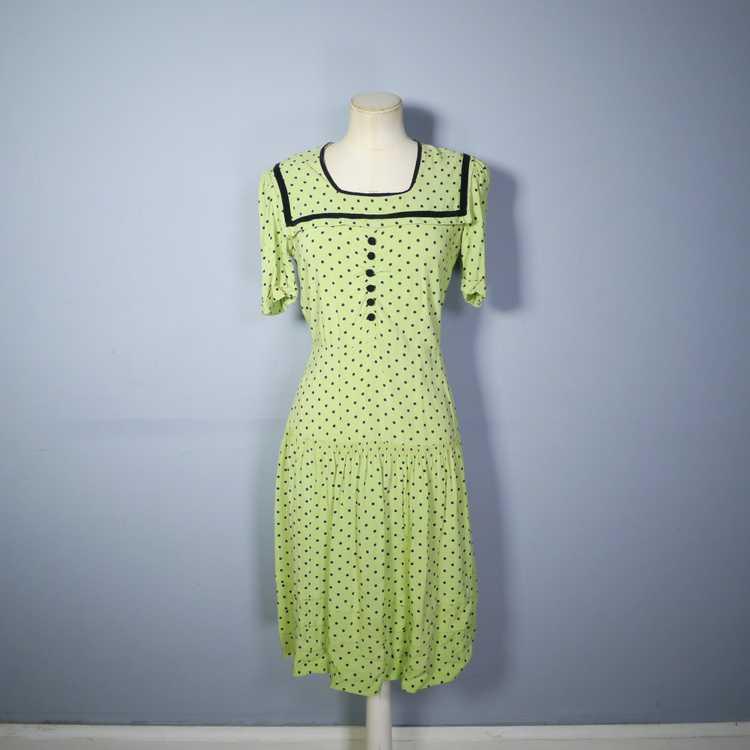 30s 40s LIME GREEN AND BLACK POLKA DOT TEA DRESS … - image 5